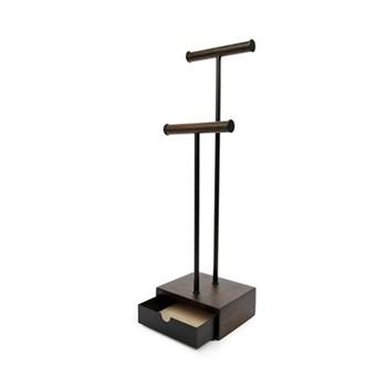 Pillar Jewellery stand, 15 x 13 x 53cm, black/walnut