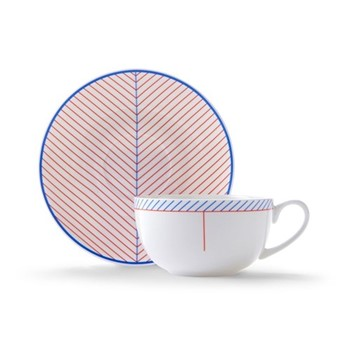 Ebb Cappuccino cup and saucer, H7.5 x D11cm, red/blue