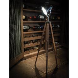 Spotlight with tripod, H150 x W22cm, Wood Tripod