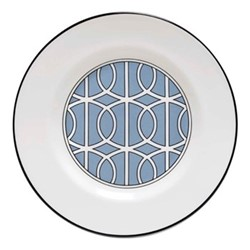 Loop Teaplate, 16.5cm, cornflower blue/white (black rim)