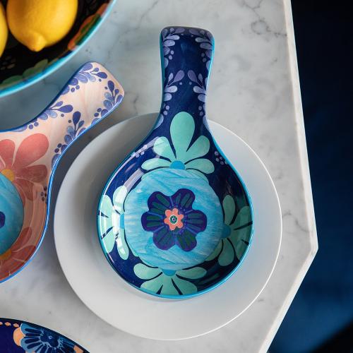 Majolica Majolica Ceramic Spoon Rest Blue, Multi