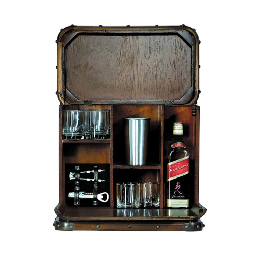 Picnic Box Victoria Bar storage, H40 x W26 x L45cm, Mahogany, Brass