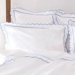 Scallop King size flat sheet, 275 x 275cm, white/blue
