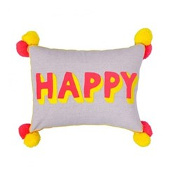 Happy Embroidered linen cushion, L50 x W35cm, multi