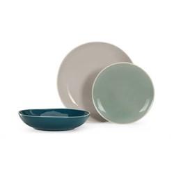 Noah 12 piece dinner set, tonal blue and grey
