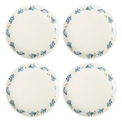 English Oak Set of 4 dinner plates, W2.8 x H2.5cm, teal/yellow