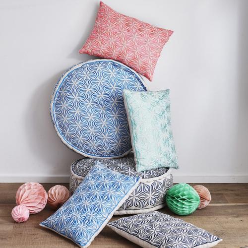 Martha Geometric Rectangular linen cushion, L50 x W30cm, Charcoal