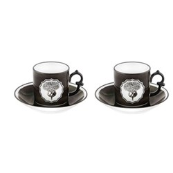 Herbariae Pair of coffee cups and saucers, black