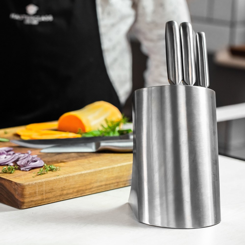 Five piece knife set and stainless steel block