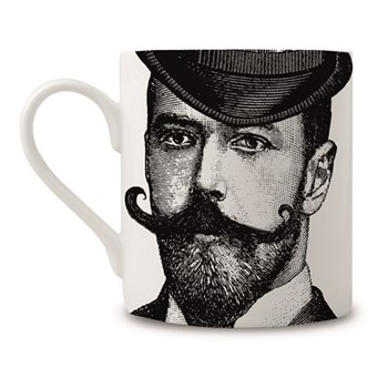 Dashing Gent Mug, H9 x Dia 8cm, black/white
