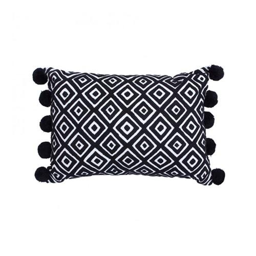 Kabuki Rectangular cushion with pompoms, L50 x W35cm, Black/White