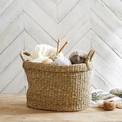 Seagrass Small oval basket, H26 x W36 x L36cm