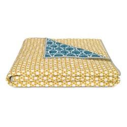 Agadir Reversible bedspread, W200 x H200cm, teal and saffron yellow