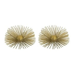 Pair of tealight holders, H16.5 x D6.5cm, gold wire