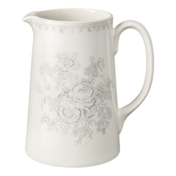 Dove Grey Asiatic Pheasants Large tankard jug, 1.1 litre, grey/white