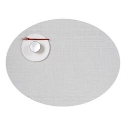 Mini Basketweave Set of 4 oval placemats, 36 x 49cm, white