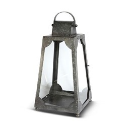 Trapezium Extra small lantern, H33 x L17 x D17cm, galvanised steel