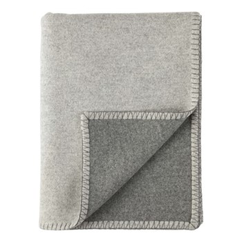 Blanket Stitched Reversible woven blended throw, 190 x 140cm, silver & grey