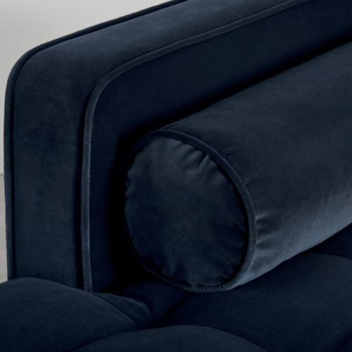 Scott 4 seater left hand facing chaise end corner sofa, H83 x W259 x D171cm, Navy Cotton Velvet