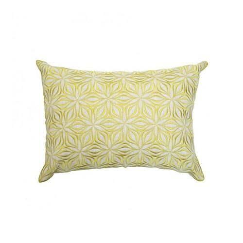 Martha Geometric Rectangular linen cushion, L50 x W30cm, Chartreuse