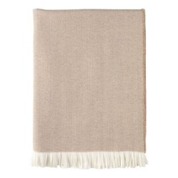 Herringbone Merino woven throw, 190 x 140cm, almond & white