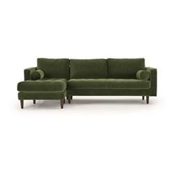 Scott 4 seater left hand facing chaise end corner sofa, H83 x W259 x D171cm, grass cotton velvet