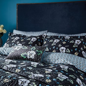 Gardenia King size duvet cover, L220 x W230cm, black