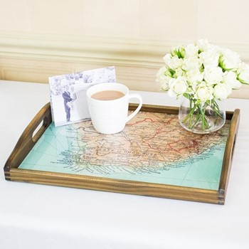 Drinks tray with personalised map, 43 x 33cm, wood and heatproof glass