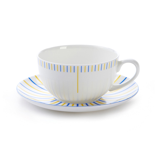 Burst Cappuccino cup and saucer, H7.5 x D11cm, Yellow/Blue