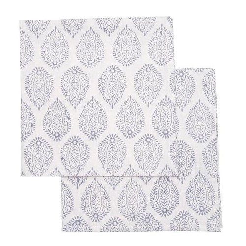 Leaf Set of 4 napkins, 45 x 45cm, Grey Cotton