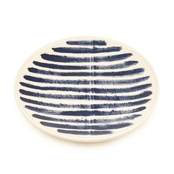 Indigo Rain Platter, D34cm, blue stripes