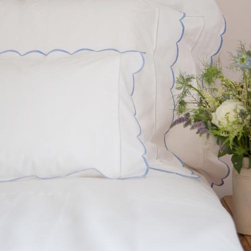 Scalloped Edge Standard pillowcase, 50 x 75cm, Blue 200 Thread Count Cotton