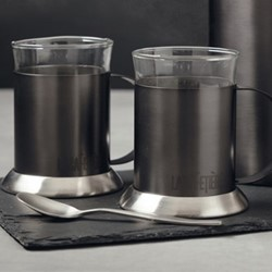 Edited Pair of glass cups, H18.2 x W9.5 x L13.1cm - 200ml, gun metal