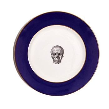 Skull Dinner plate, 27cm, crisp white with cobalt blue border/burnished gold edge