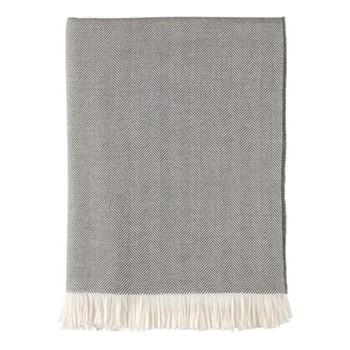 Herringbone Merino woven throw, 190 x 140cm, flint & white