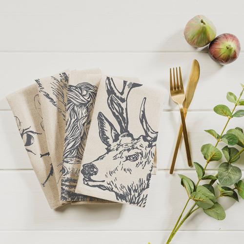 Country Animals Set of 4 napkins, 40 x 40cm