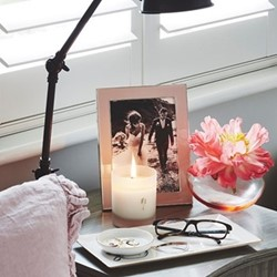 """Enamel Range Photograph frame, 4 x 6"""" with 24mm border, pale pink with silver plate"""
