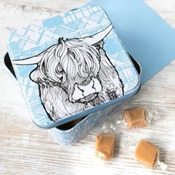 Highland Cow Fudge tin, 12.7 x 12.7 x 5.9cm