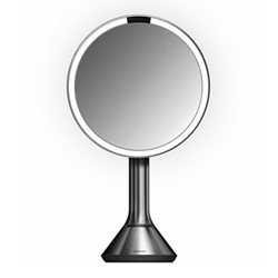 Sensor mirror with touch control brightness, H38.4 x W23cm, brushed stainless steel
