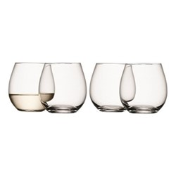 Wine Set of 4 stemless white wine glasses, 37cl, clear