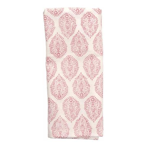 Leaf Set of 4 napkins, 45 x 45cm, Pink Cotton