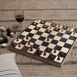 Wood chess & draughts 7 x 20 x 40cm
