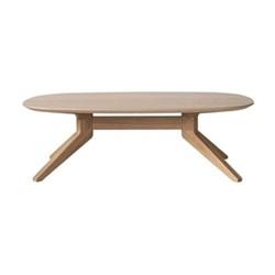 Oval oak coffee table H39 x W90 x D77.4cm