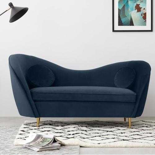 Kooper 2 seater sofa, H83 x W165 x D73cm, Sapphire Blue Velvet