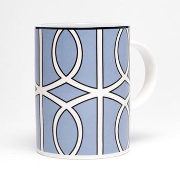 Loop Mug, 10.2 x 7.6cm, blue/white (black rim)