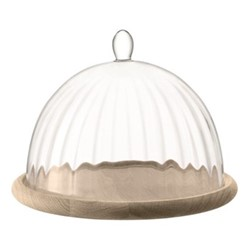 Aurelia Glass dome with oak base, 25cm / 22 x 19cm