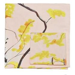 Chinese Tree Single bed linen  set, pink/yellow - sateen finish