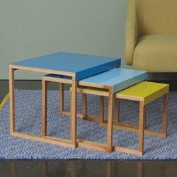 Kilo Nest of tables, yellow/blue