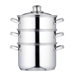 Clearview 3 tier steamer, 18cm, Stainless Steel
