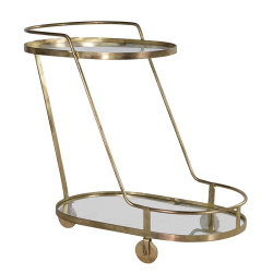 Segovia Oval drinks trolley, 77 x 43 x 87cm, glass and gold finish
